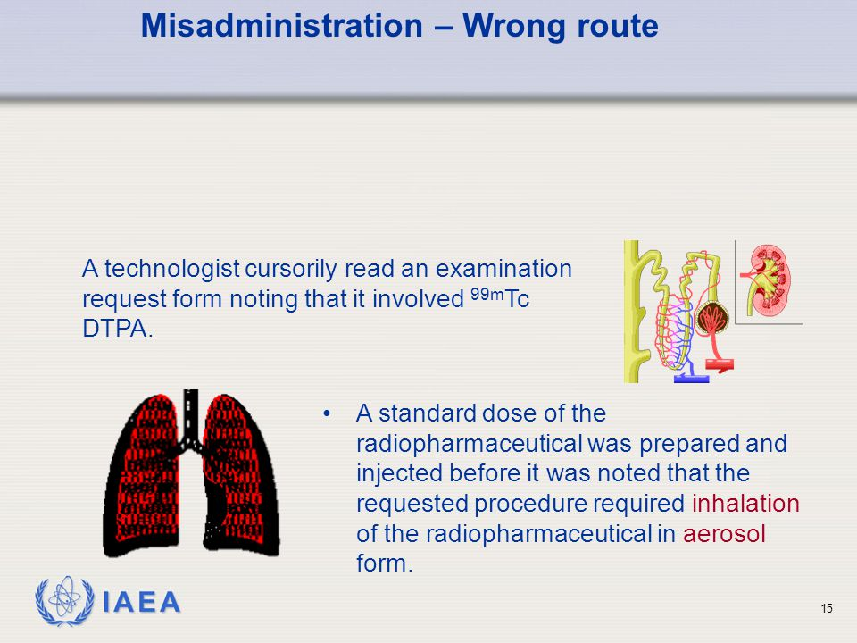 IAEA 15 A technologist cursorily read an examination request form noting that it involved 99m Tc DTPA.