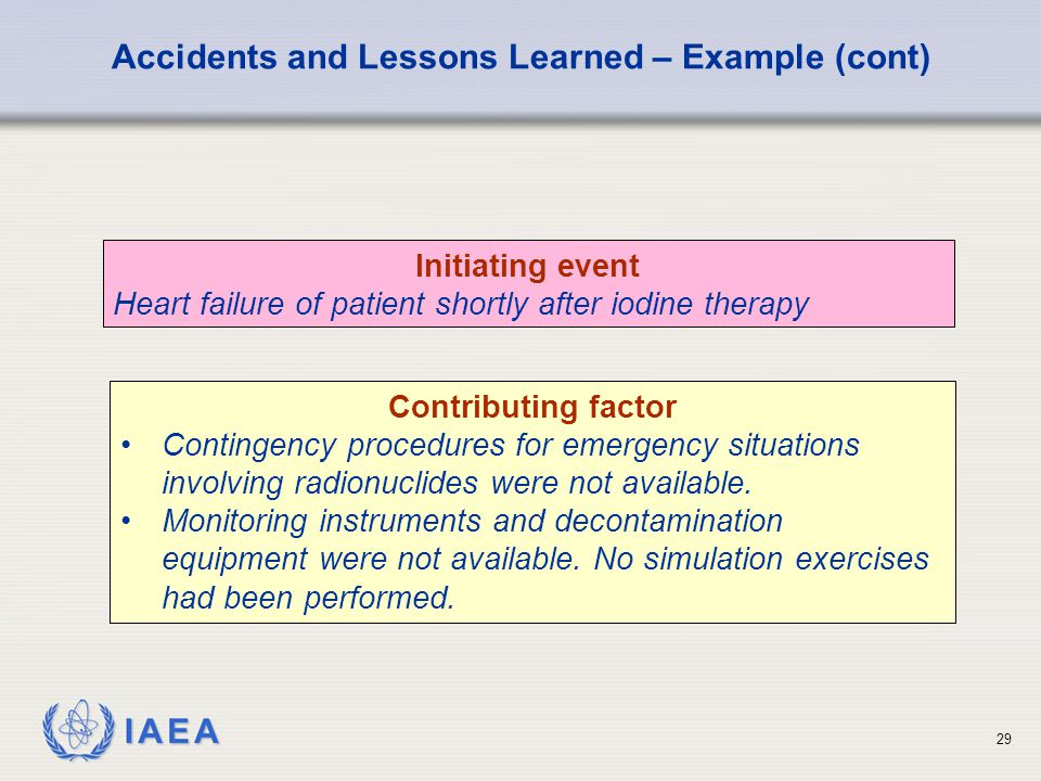 IAEA 29 Initiating event Heart failure of patient shortly after iodine therapy Accidents and Lessons Learned – Example (cont) Contributing factor Contingency procedures for emergency situations involving radionuclides were not available.