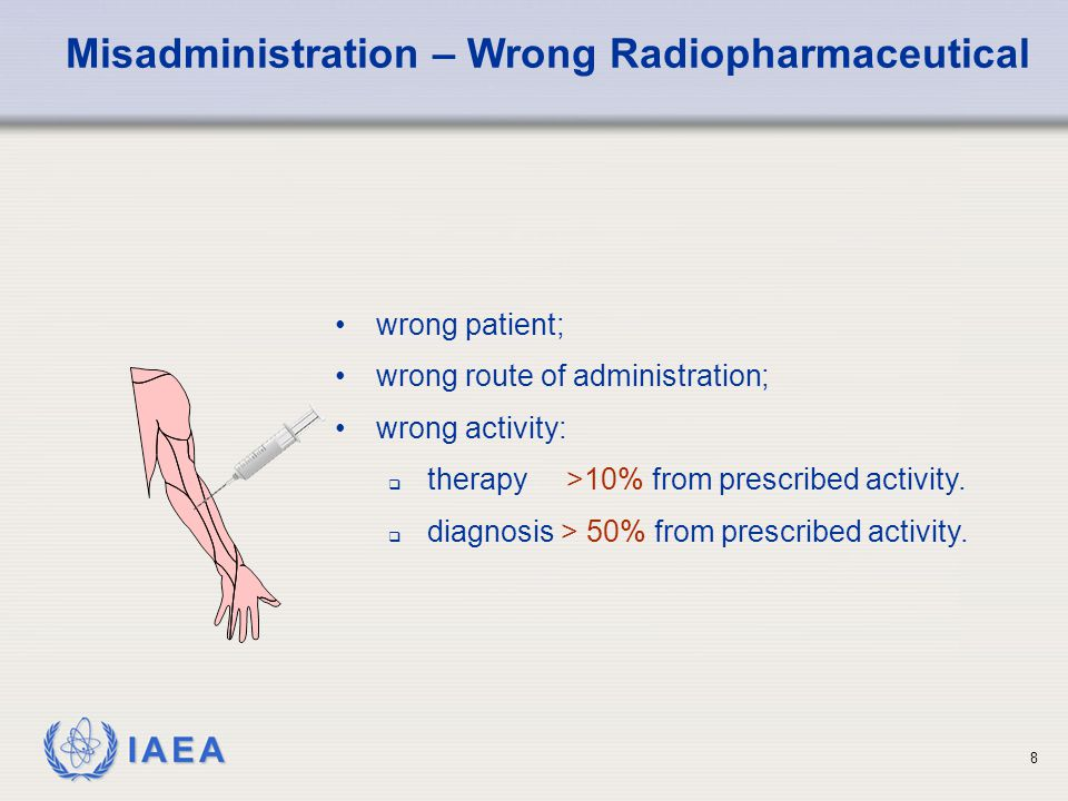 IAEA 8 Misadministration – Wrong Radiopharmaceutical wrong patient; wrong route of administration; wrong activity:  therapy >10% from prescribed activity.
