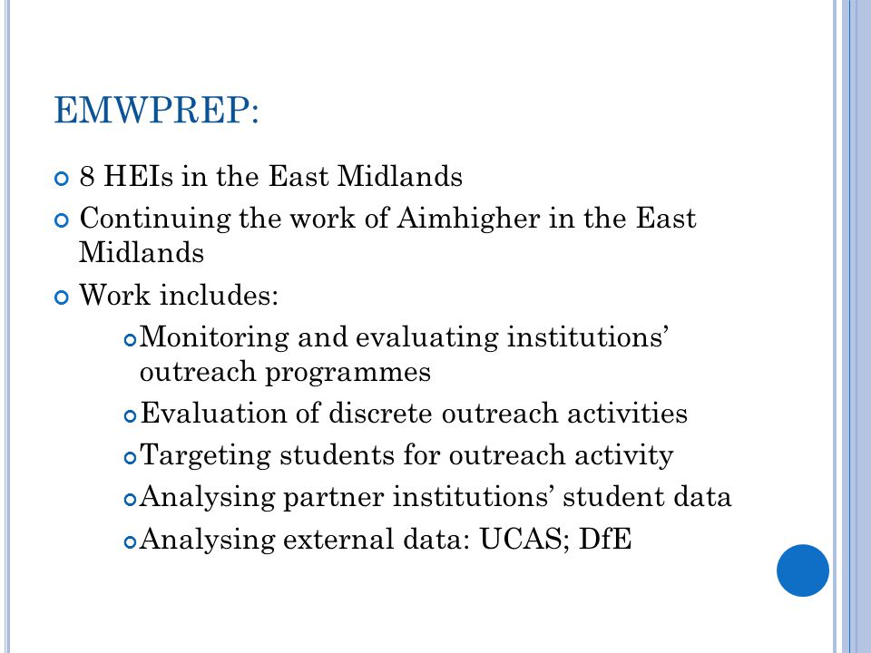 U SES OF DATA : There are three main ways in which data is used in the East Midlands: 1.
