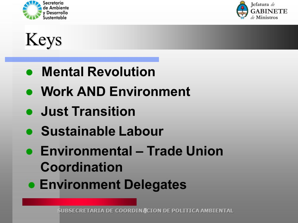 Keys Mental Revolution Work AND Environment Just Transition Sustainable Labour Environmental – Trade Union Coordination Environment Delegates