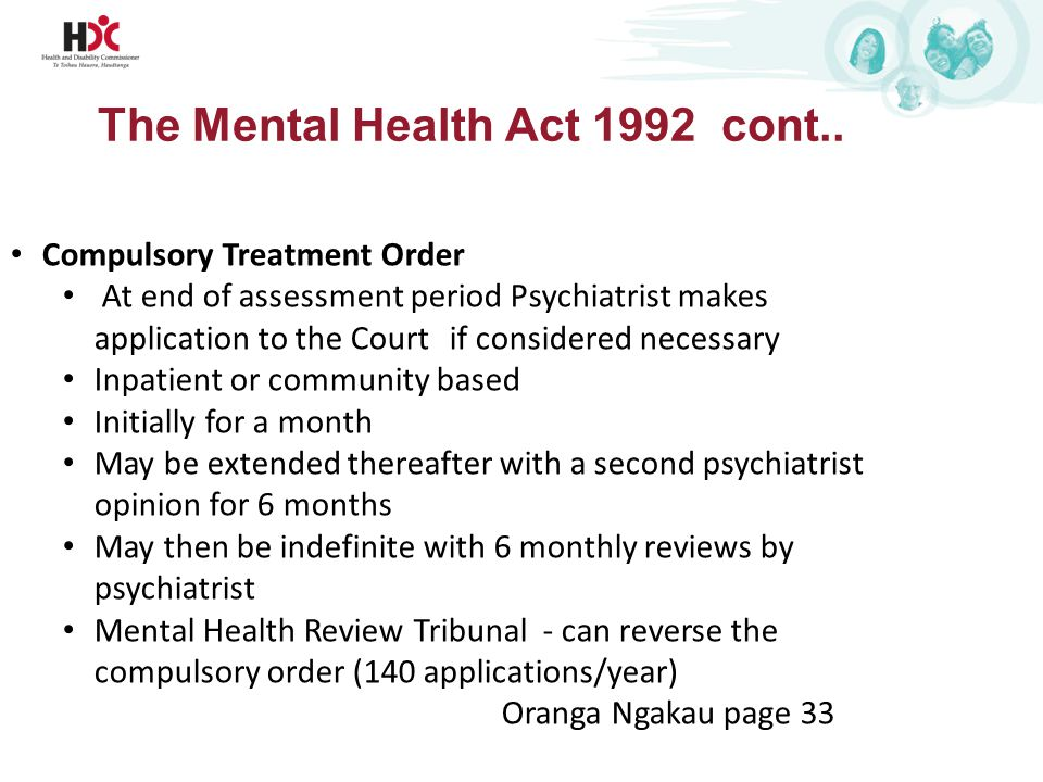 The Mental Health Act 1992 cont..
