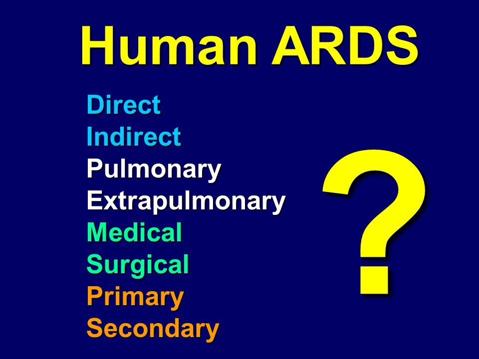 DirectIndirectPulmonaryExtrapulmonaryMedicalSurgicalPrimarySecondary Human ARDS