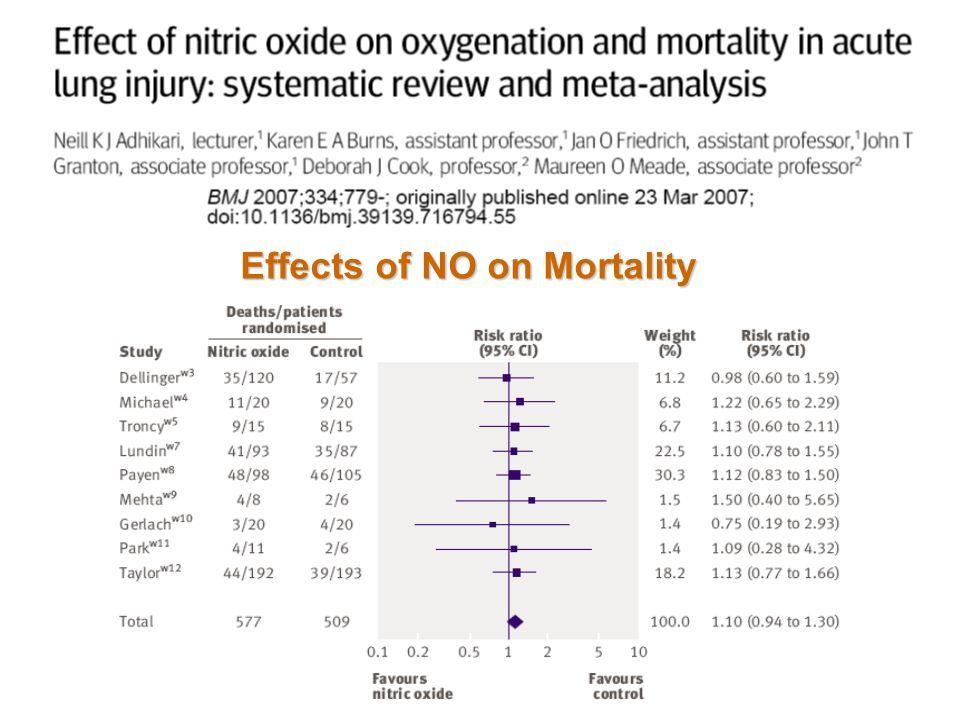 Effects of NO on Mortality