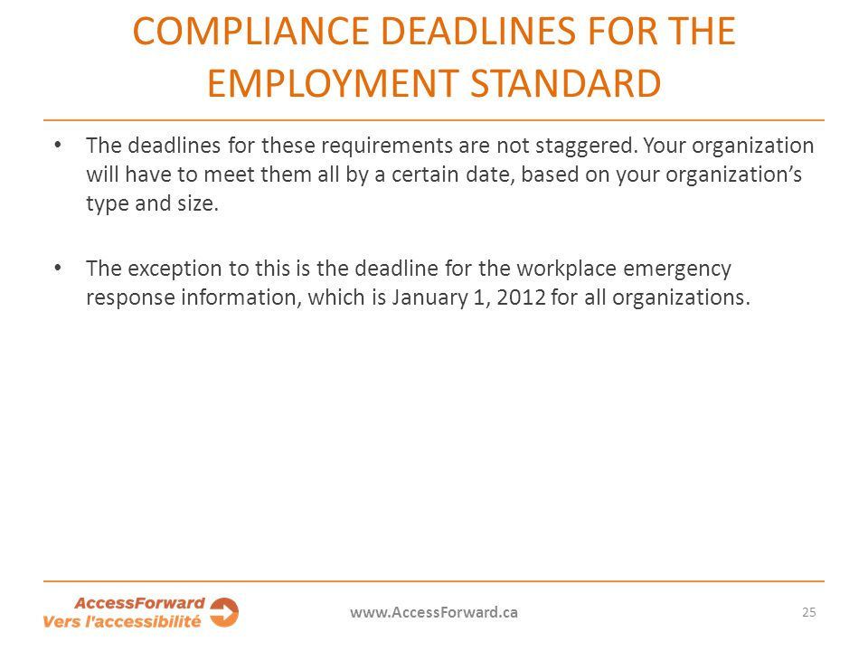 25 www.AccessForward.ca The deadlines for these requirements are not staggered. Your organization will have to meet them all by a certain date, based