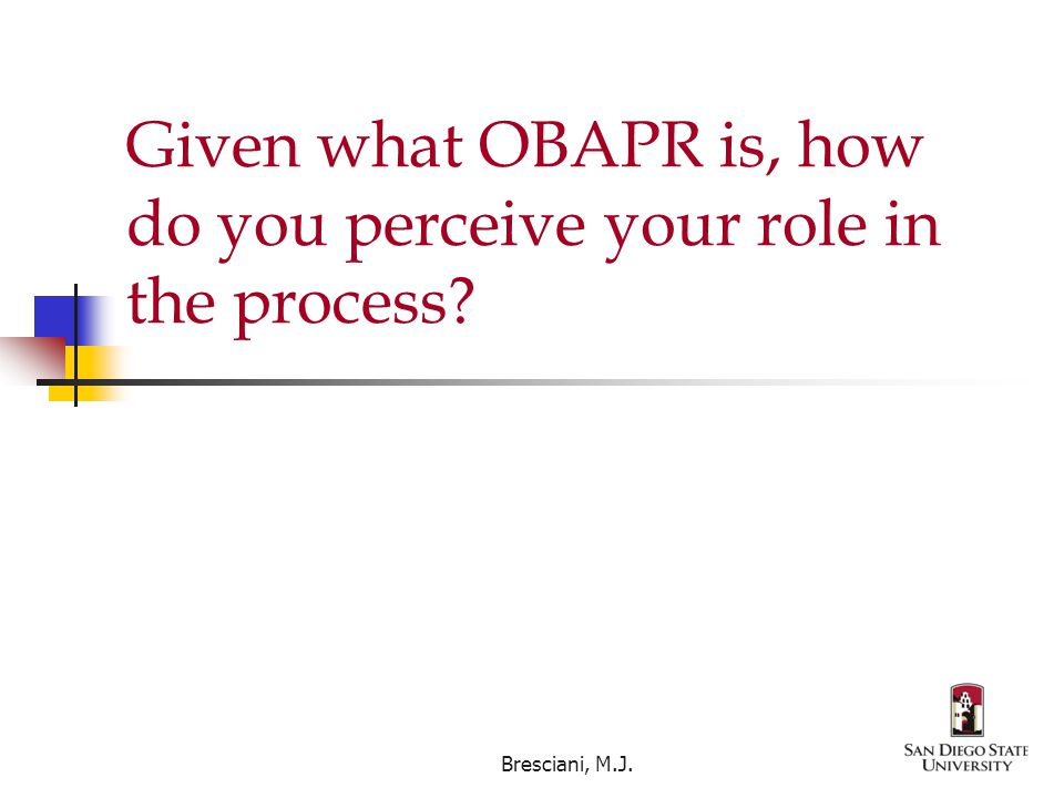 Given what OBAPR is, how do you perceive your role in the process Bresciani, M.J.