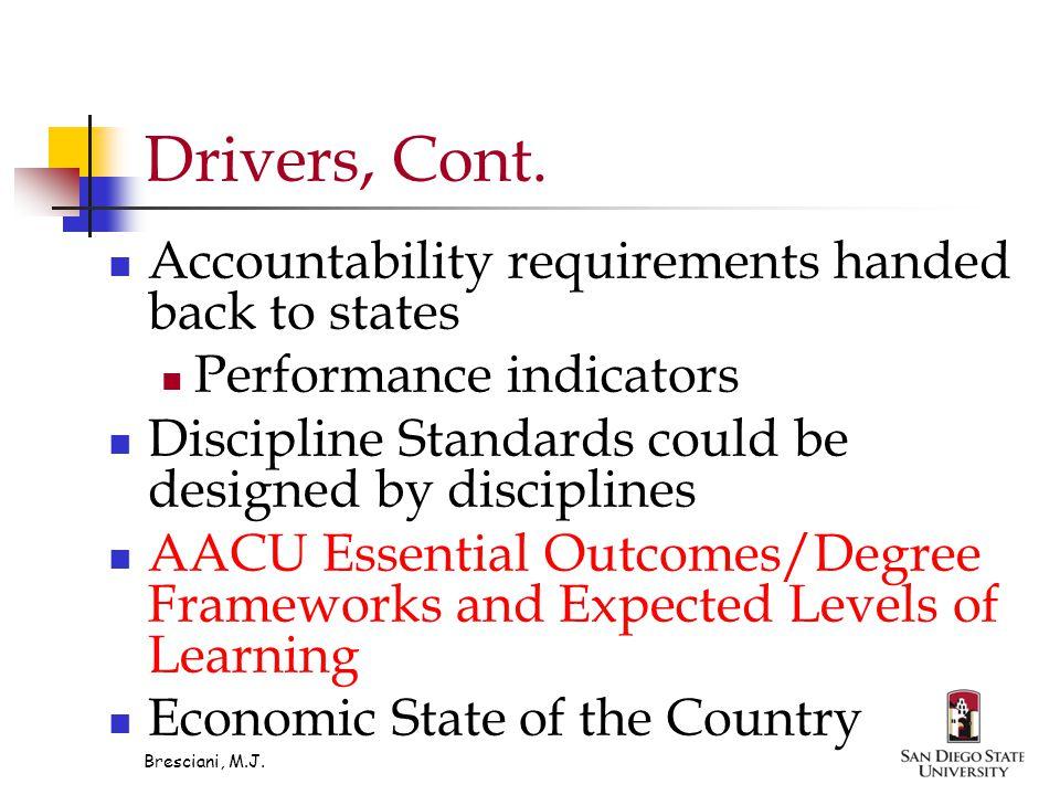 Bresciani, M.J. Drivers, Cont.