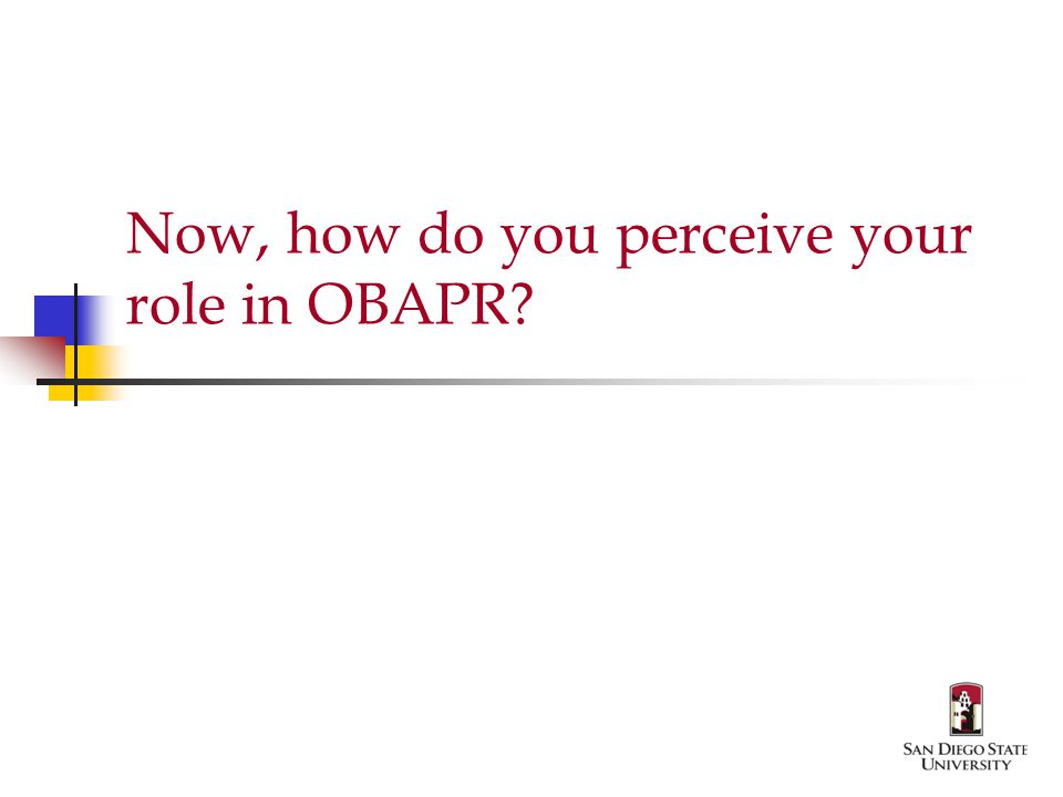 Now, how do you perceive your role in OBAPR