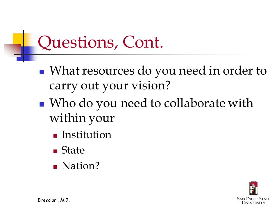 Questions, Cont. What resources do you need in order to carry out your vision.