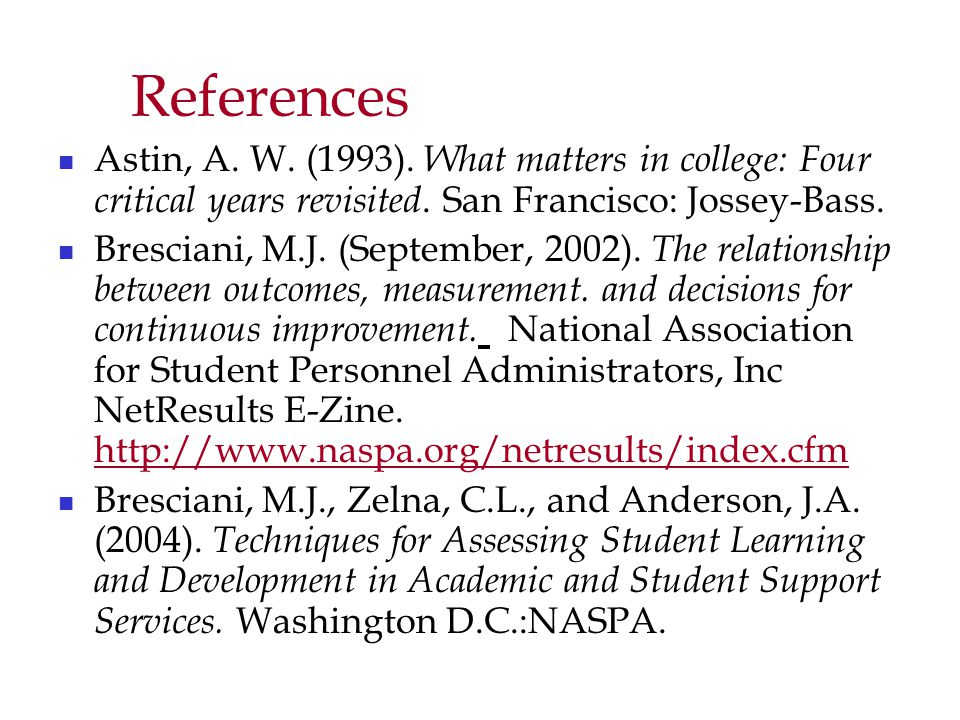 References Astin, A. W. (1993). What matters in college: Four critical years revisited.