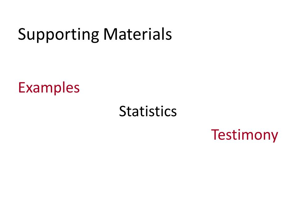 Supporting Materials Examples Statistics Testimony