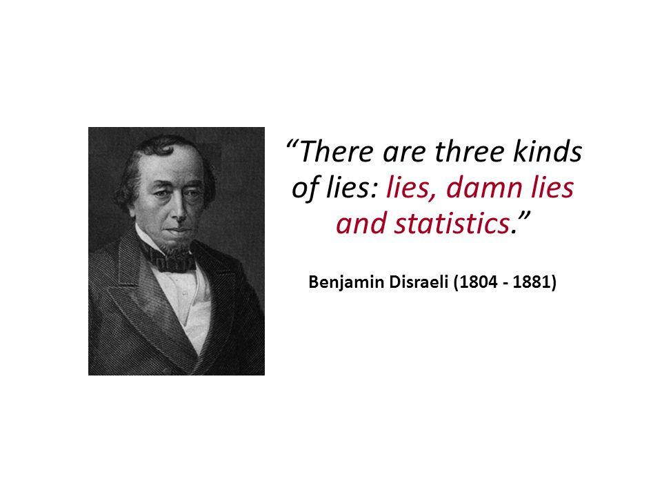 There are three kinds of lies: lies, damn lies and statistics. Benjamin Disraeli (1804 - 1881)
