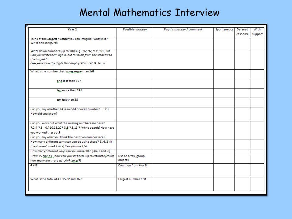 Mental Mathematics Interview