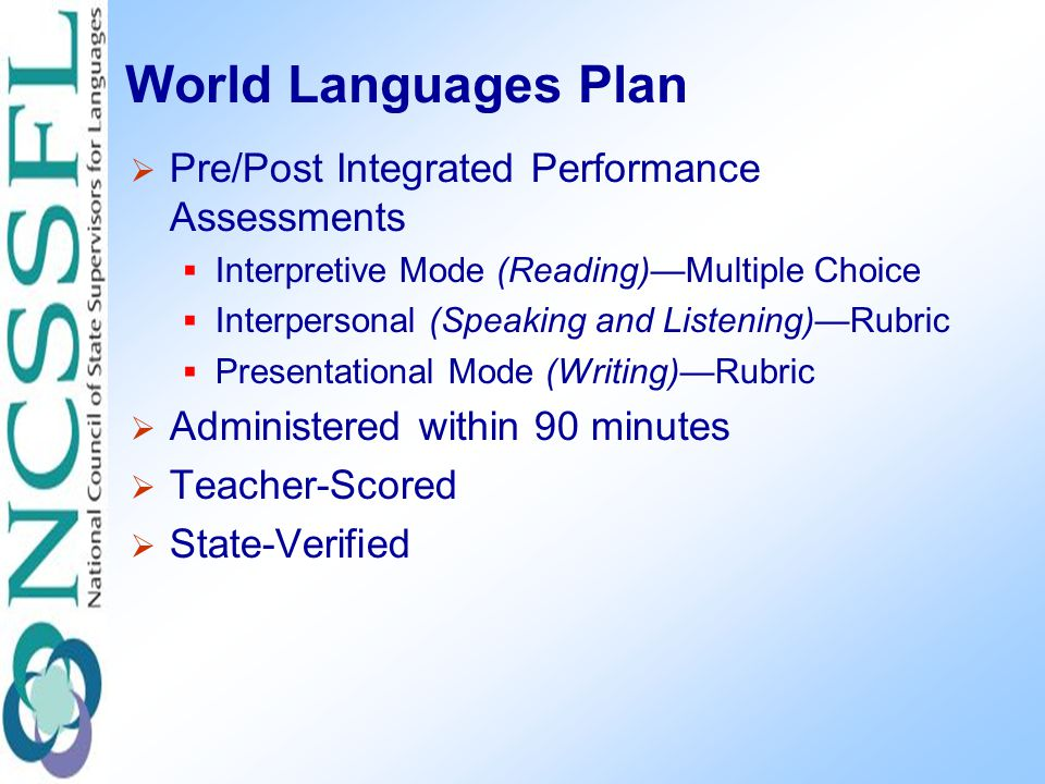 World Languages Plan  Pre/Post Integrated Performance Assessments  Interpretive Mode (Reading)—Multiple Choice  Interpersonal (Speaking and Listening)—Rubric  Presentational Mode (Writing)—Rubric  Administered within 90 minutes  Teacher-Scored  State-Verified