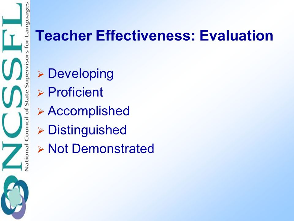 Teacher Effectiveness: Evaluation  Developing  Proficient  Accomplished  Distinguished  Not Demonstrated