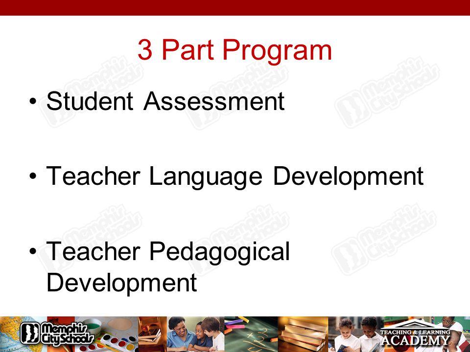 3 Part Program Student Assessment Teacher Language Development Teacher Pedagogical Development