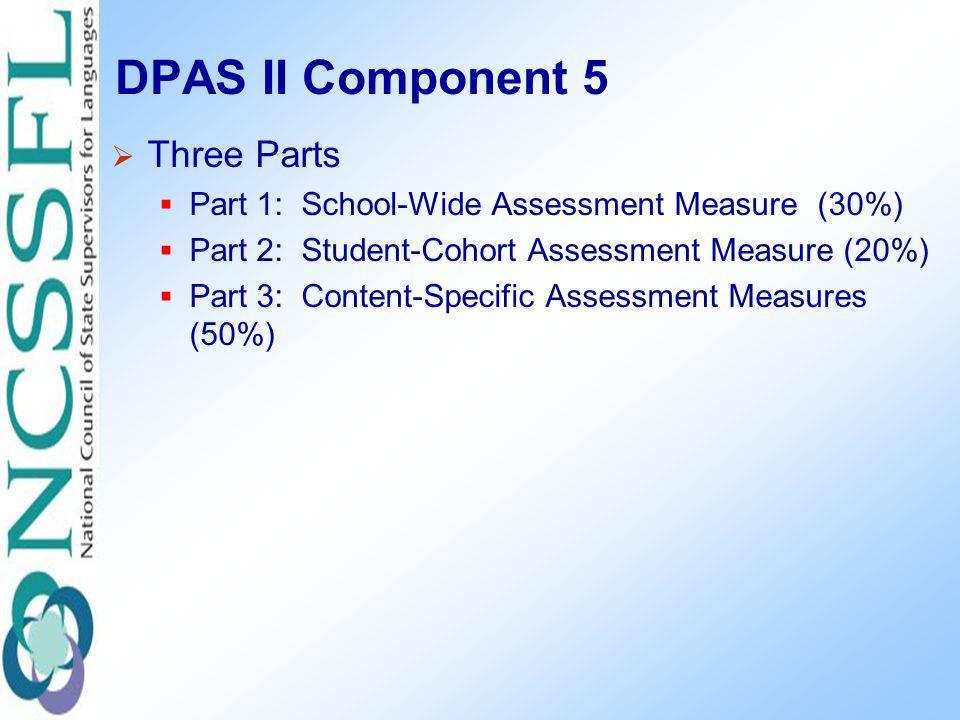 DPAS II Component 5  Three Parts  Part 1: School-Wide Assessment Measure (30%)  Part 2: Student-Cohort Assessment Measure (20%)  Part 3: Content-Specific Assessment Measures (50%)