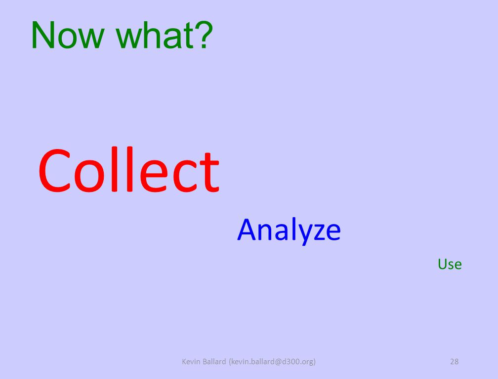 Collect Analyze Use Now what Kevin Ballard (kevin.ballard@d300.org)28