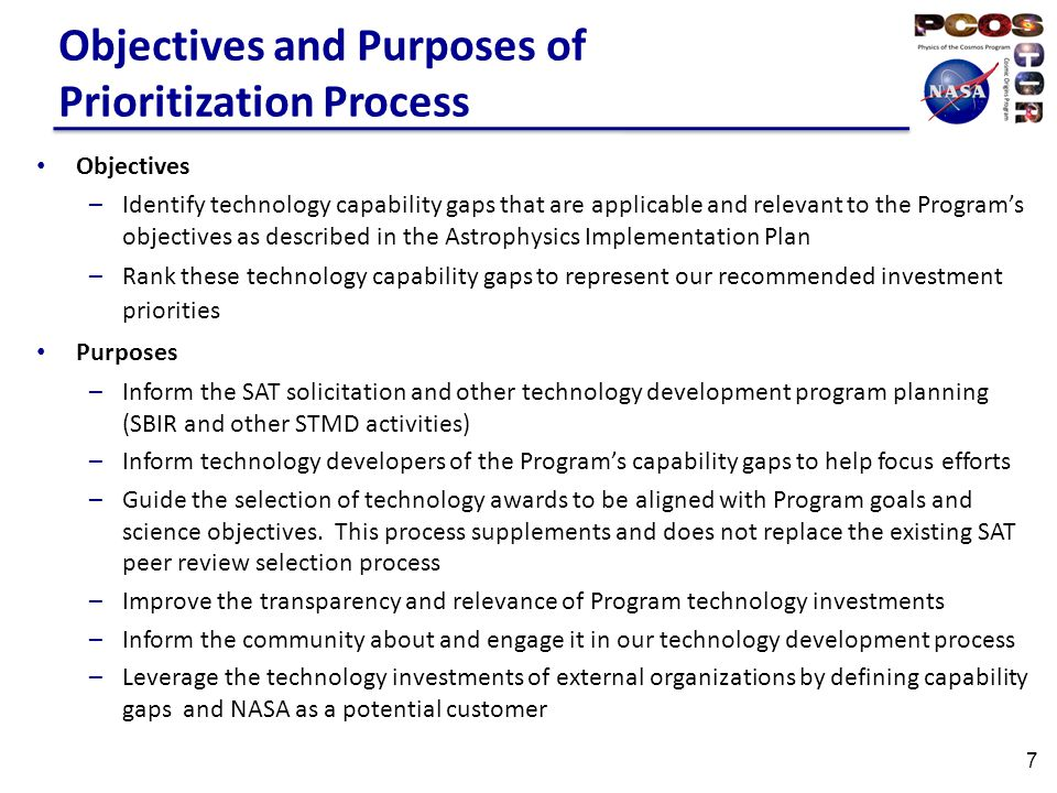 Objectives and Purposes of Prioritization Process Objectives –Identify technology capability gaps that are applicable and relevant to the Program's objectives as described in the Astrophysics Implementation Plan –Rank these technology capability gaps to represent our recommended investment priorities Purposes –Inform the SAT solicitation and other technology development program planning (SBIR and other STMD activities) –Inform technology developers of the Program's capability gaps to help focus efforts –Guide the selection of technology awards to be aligned with Program goals and science objectives.