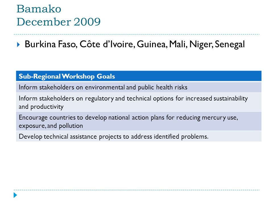 Bamako December 2009  Burkina Faso, Côte d'Ivoire, Guinea, Mali, Niger, Senegal Sub-Regional Workshop Goals Inform stakeholders on environmental and public health risks Inform stakeholders on regulatory and technical options for increased sustainability and productivity Encourage countries to develop national action plans for reducing mercury use, exposure, and pollution Develop technical assistance projects to address identified problems.