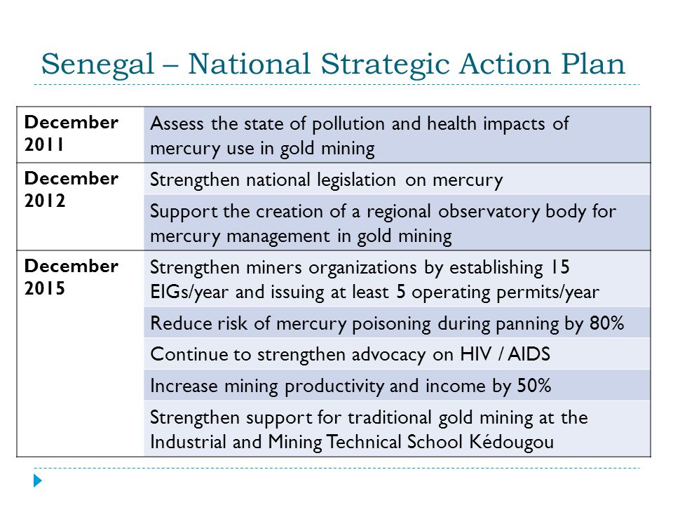 Senegal – National Strategic Action Plan December 2011 Assess the state of pollution and health impacts of mercury use in gold mining December 2012 St