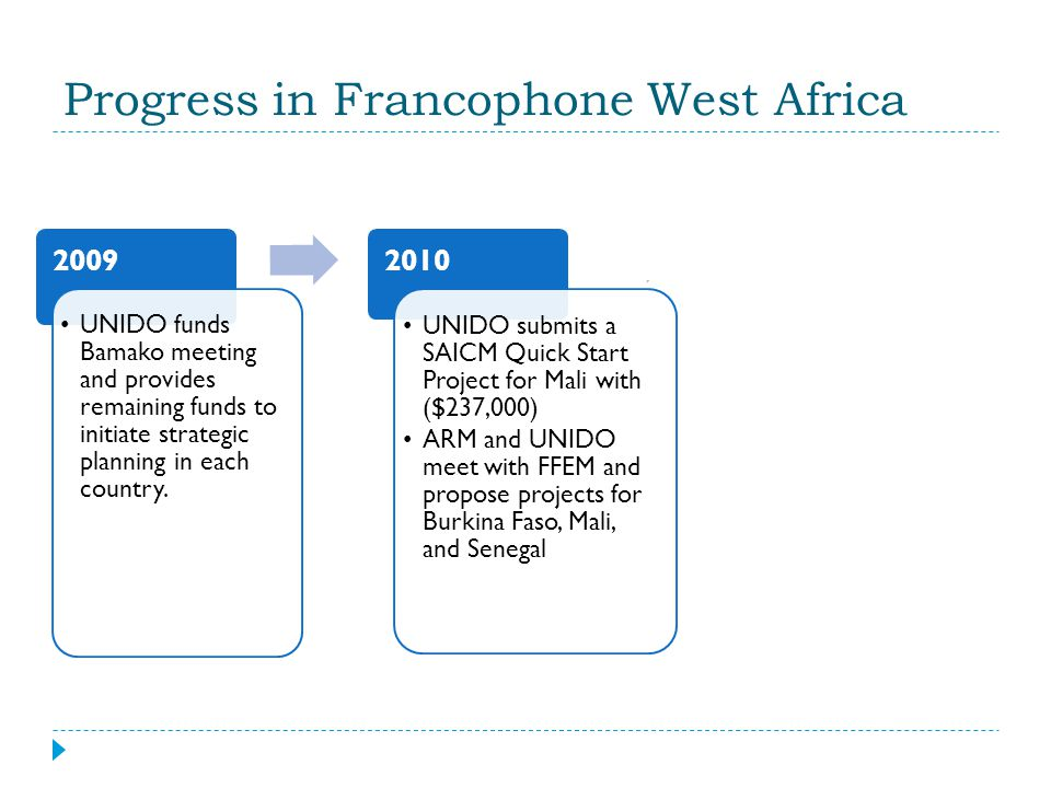 Progress in Francophone West Africa 2009 UNIDO funds Bamako meeting and provides remaining funds to initiate strategic planning in each country.