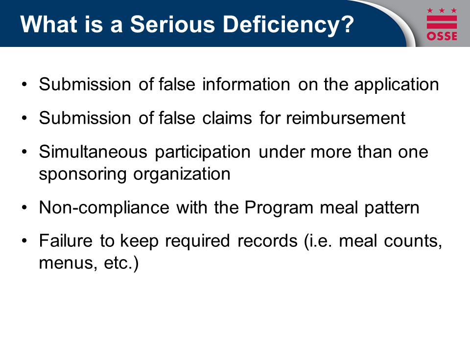 What is a Serious Deficiency.