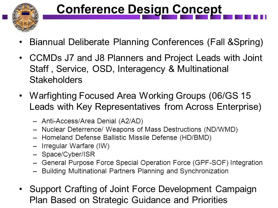 Conference Design Concept Biannual Deliberate Planning Conferences (Fall &Spring) CCMDs J7 and J8 Planners and Project Leads with Joint Staff, Service, OSD, Interagency & Multinational Stakeholders Warfighting Focused Area Working Groups (06/GS 15 Leads with Key Representatives from Across Enterprise) –Anti-Access/Area Denial (A2/AD) –Nuclear Deterrence/ Weapons of Mass Destructions (ND/WMD) –Homeland Defense Ballistic Missile Defense (HD/BMD) –Irregular Warfare (IW) –Space/Cyber/ISR –General Purpose Force Special Operation Force (GPF-SOF) Integration –Building Multinational Partners Planning and Synchronization Support Crafting of Joint Force Development Campaign Plan Based on Strategic Guidance and Priorities