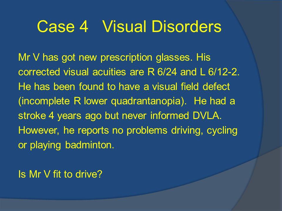 Case 4 Visual Disorders Mr V has got new prescription glasses.