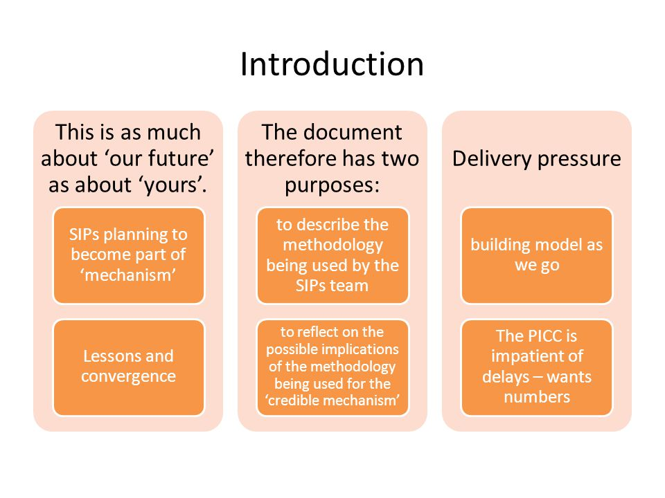 Introduction This is as much about 'our future' as about 'yours'. SIPs planning to become part of 'mechanism' Lessons and convergence The document the