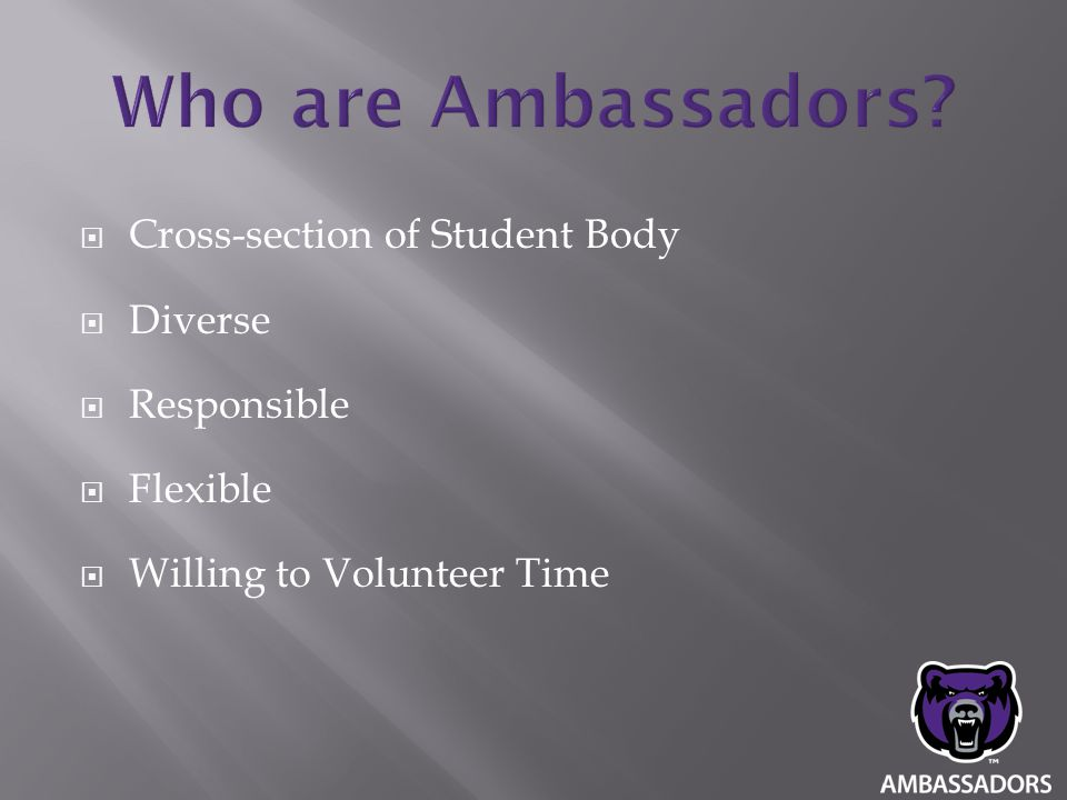  Cross-section of Student Body  Diverse  Responsible  Flexible  Willing to Volunteer Time