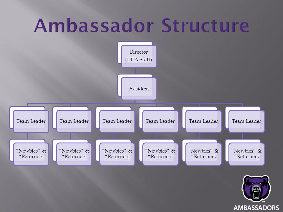 "Director (UCA Staff) PresidentTeam Leader ""Newbies"" & ""Returners Team Leader ""Newbies"" & ""Returners Team Leader ""Newbies"" & ""Returners Team Leader ""Ne"