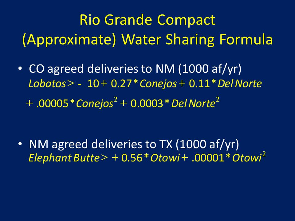 Rio Grande Compact (Approximate) Water Sharing Formula CO agreed deliveries to NM (1000 af/yr) NM agreed deliveries to TX (1000 af/yr)