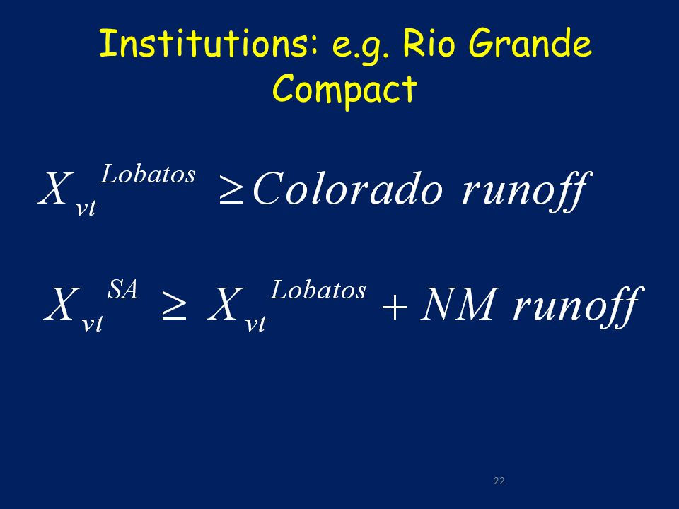 22 Institutions: e.g. Rio Grande Compact