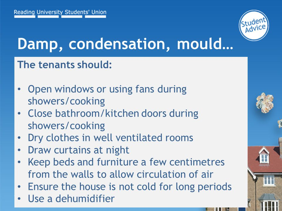 The tenants should: Open windows or using fans during showers/cooking Close bathroom/kitchen doors during showers/cooking Dry clothes in well ventilat