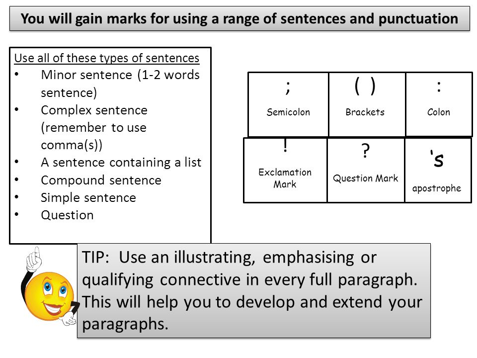 You will gain marks for organisation and structure Topic Sentence (Possibly with an adding connective) In addition...