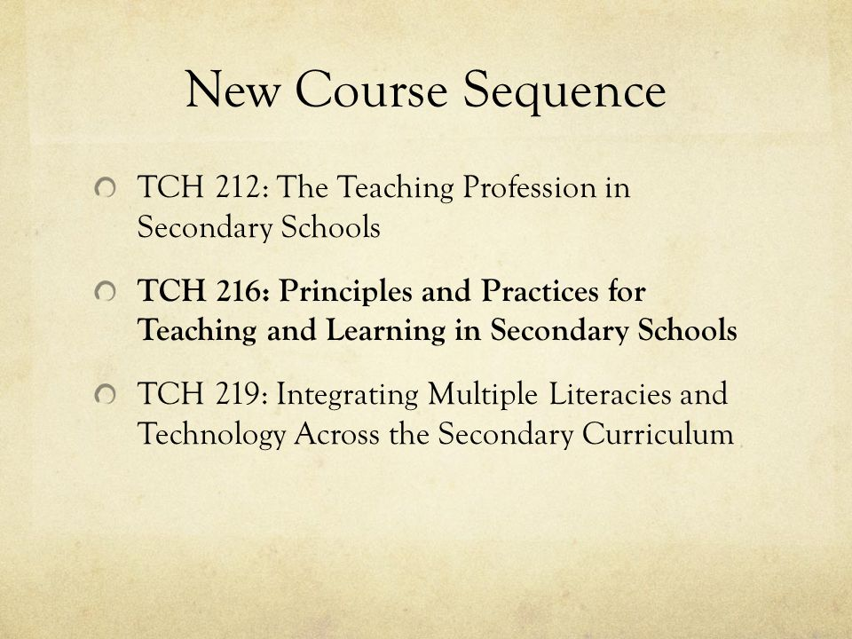 New Course Sequence TCH 212: The Teaching Profession in Secondary Schools TCH 216: Principles and Practices for Teaching and Learning in Secondary Schools TCH 219: Integrating Multiple Literacies and Technology Across the Secondary Curriculum