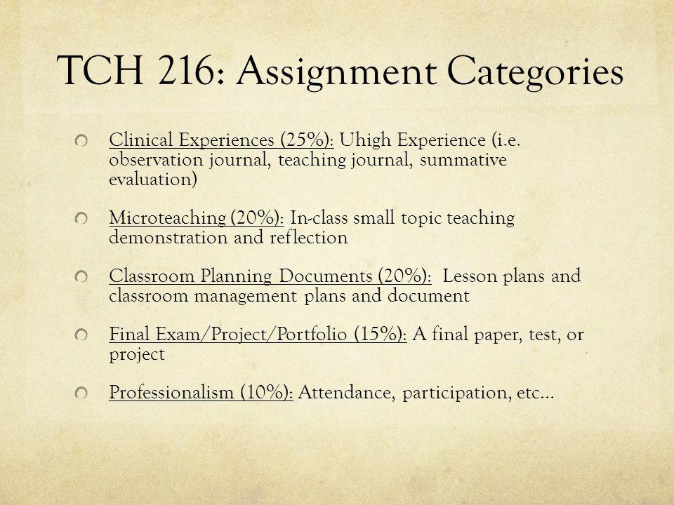 TCH 216: Assignment Categories Clinical Experiences (25%): Uhigh Experience (i.e.