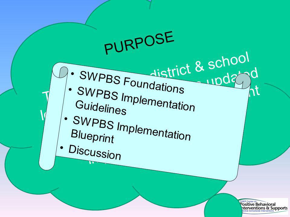 PURPOSE To describe how district & school leadership teams can use updated SWPBS Implementation Blueprint to develop & guide their implementation efforts.