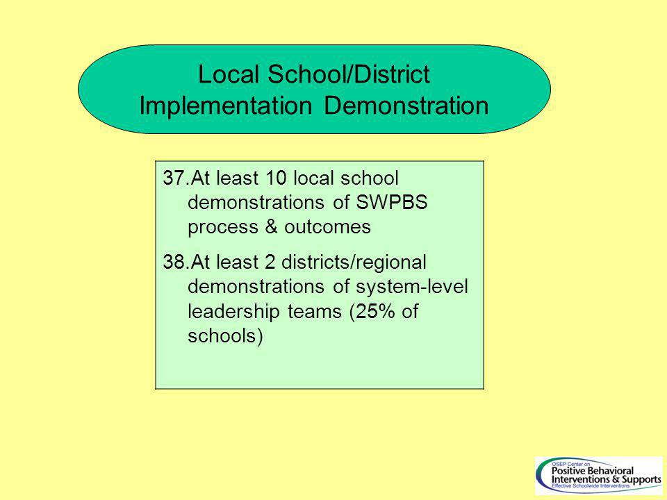 Local School/District Implementation Demonstration 37.At least 10 local school demonstrations of SWPBS process & outcomes 38.At least 2 districts/regional demonstrations of system-level leadership teams (25% of schools)