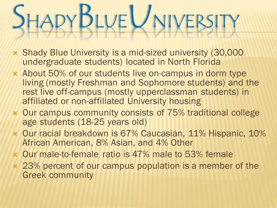 Shady Blue University is a mid-sized university (30,000 undergraduate students) located in North Florida  About 50% of our students live on-campus in dorm type living (mostly Freshman and Sophomore students) and the rest live off-campus (mostly upperclassman students) in affiliated or non-affiliated University housing  Our campus community consists of 75% traditional college age students (18-25 years old)  Our racial breakdown is 67% Caucasian, 11% Hispanic, 10% African American, 8% Asian, and 4% Other  Our male-to-female ratio is 47% male to 53% female  23% percent of our campus population is a member of the Greek community