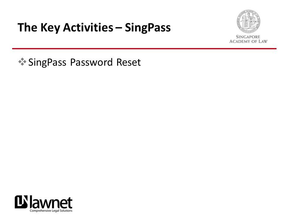 The Key Activities – SingPass  SingPass Password Reset
