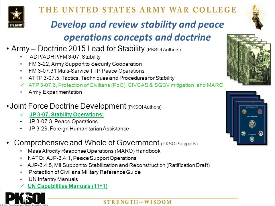Develop and review stability and peace operations concepts and doctrine Army – Doctrine 2015 Lead for Stability (PKSOI Authors) ADP/ADRP/FM 3-07, Stab