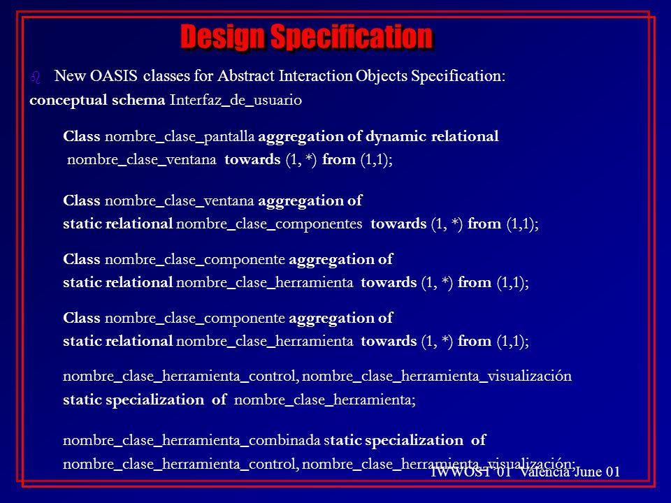 IWWOST'01 Valencia June 01 Design Specification b New OASIS classes for Abstract Interaction Objects Specification: conceptual schema Interfaz_de_usuario Class nombre_clase_pantalla aggregation of dynamic relational nombre_clase_ventana towards (1, *) from (1,1); Class nombre_clase_ventana aggregation of static relational nombre_clase_componentes towards (1, *) from (1,1); Class nombre_clase_componente aggregation of static relational nombre_clase_herramienta towards (1, *) from (1,1); Class nombre_clase_componente aggregation of static relational nombre_clase_herramienta towards (1, *) from (1,1); nombre_clase_herramienta_control, nombre_clase_herramienta_visualización static specialization of nombre_clase_herramienta; nombre_clase_herramienta_combinada static specialization of nombre_clase_herramienta_control, nombre_clase_herramienta_visualización; b New OASIS classes for Abstract Interaction Objects Specification: conceptual schema Interfaz_de_usuario Class nombre_clase_pantalla aggregation of dynamic relational nombre_clase_ventana towards (1, *) from (1,1); Class nombre_clase_ventana aggregation of static relational nombre_clase_componentes towards (1, *) from (1,1); Class nombre_clase_componente aggregation of static relational nombre_clase_herramienta towards (1, *) from (1,1); Class nombre_clase_componente aggregation of static relational nombre_clase_herramienta towards (1, *) from (1,1); nombre_clase_herramienta_control, nombre_clase_herramienta_visualización static specialization of nombre_clase_herramienta; nombre_clase_herramienta_combinada static specialization of nombre_clase_herramienta_control, nombre_clase_herramienta_visualización;