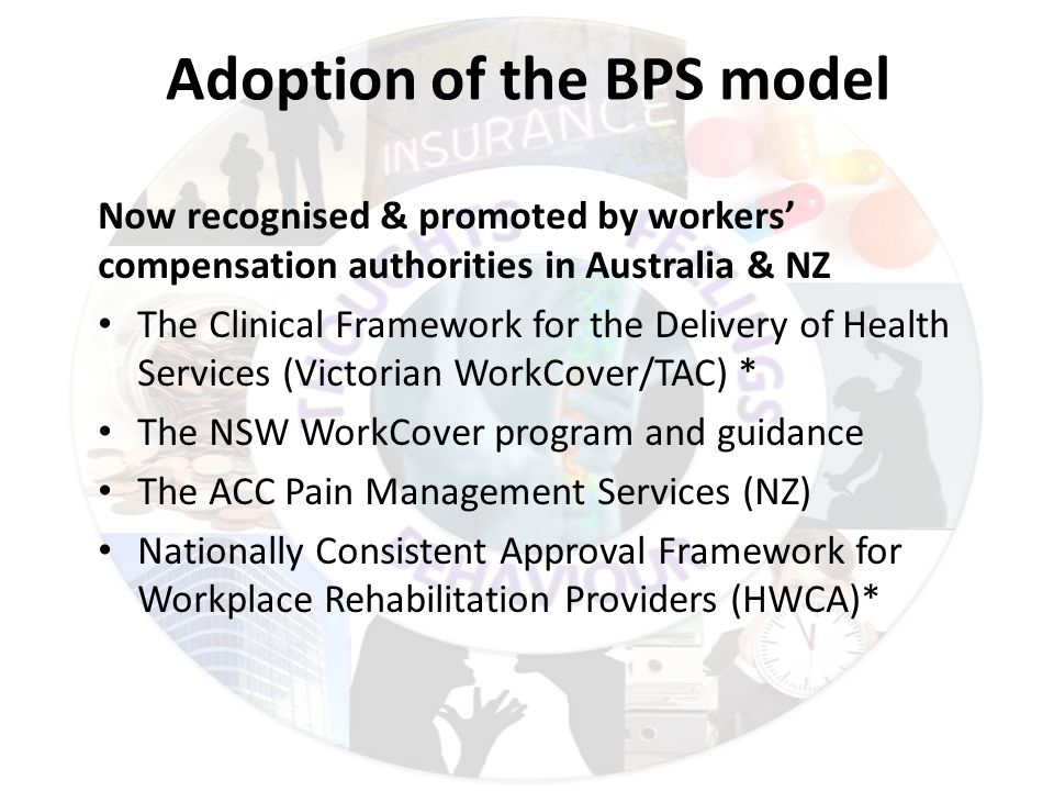 Adoption of the BPS model Now recognised & promoted by workers' compensation authorities in Australia & NZ The Clinical Framework for the Delivery of
