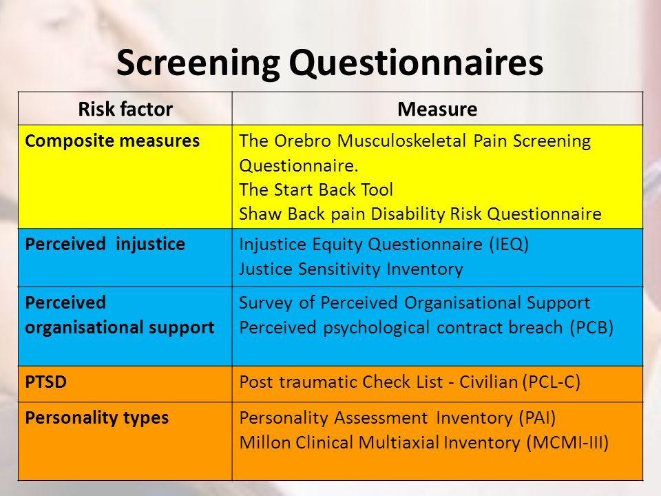 Screening Questionnaires Risk factorMeasure Composite measuresThe Orebro Musculoskeletal Pain Screening Questionnaire. The Start Back Tool Shaw Back p