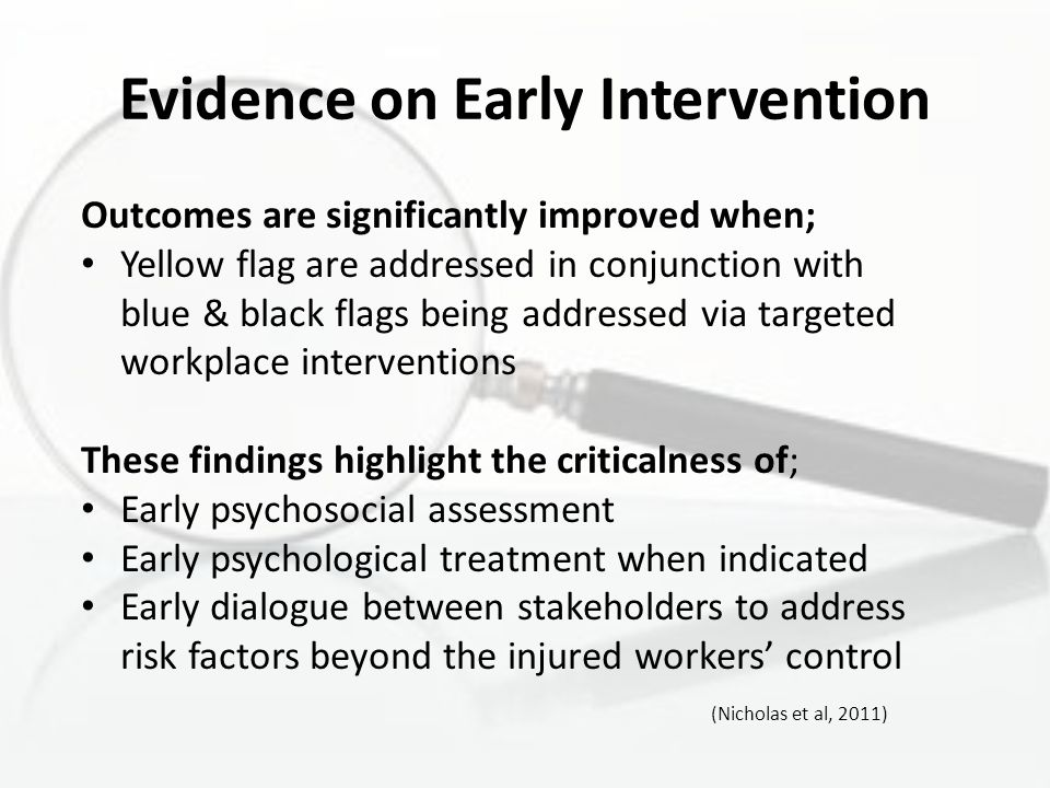 Evidence on Early Intervention Outcomes are significantly improved when; Yellow flag are addressed in conjunction with blue & black flags being addres