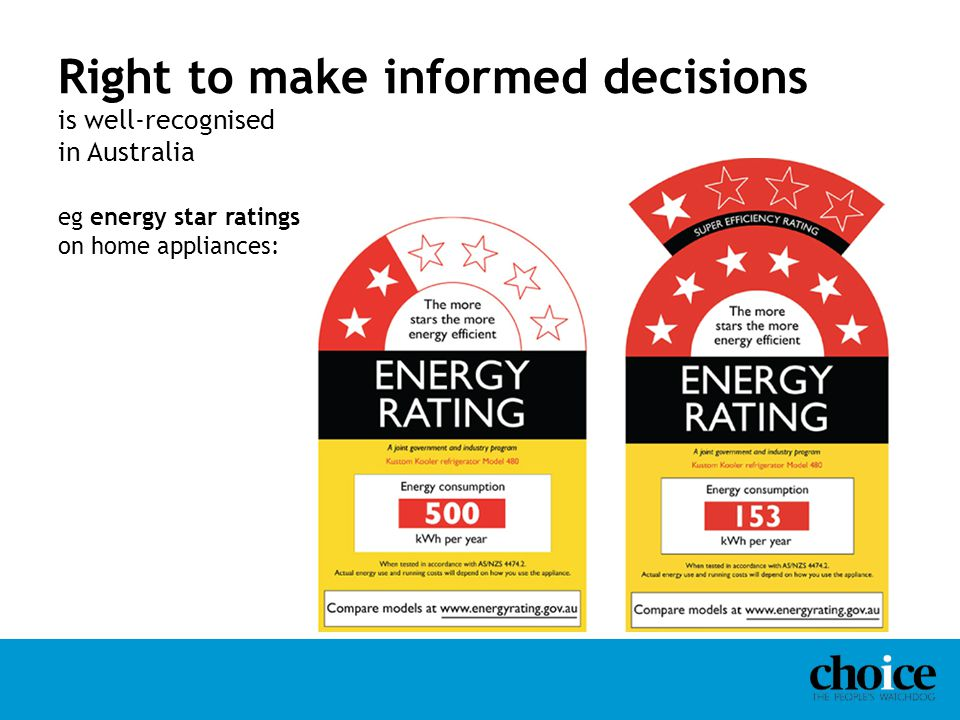 Right to make informed decisions is well-recognised in Australia eg energy star ratings on home appliances:
