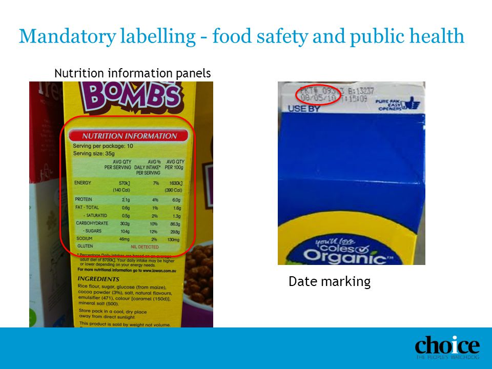 Mandatory labelling - food safety and public health Nutrition information panels Date marking