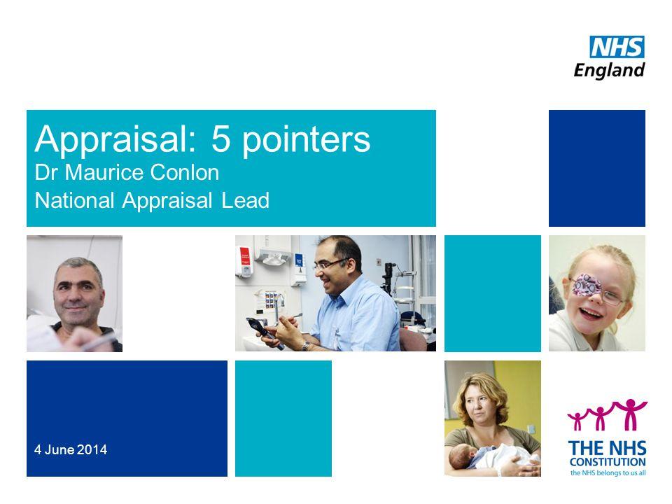 Appraisal: 5 pointers Dr Maurice Conlon National Appraisal Lead 4 June 2014